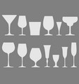 set of white wineglass and glass icons vector image