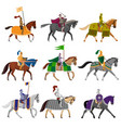 set old medieval knights in helmet with vector image vector image