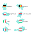 Set with european flags and border of countries vector image