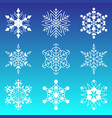 snowflakes collection isolated on blue background vector image vector image