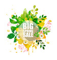 Spring sale banner with shape floral