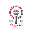 stand up club logo design on a vector image vector image
