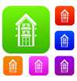 two-storey house with balconies set collection vector image vector image
