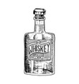 vintage whiskey bottle with label american badge vector image vector image