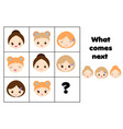 what comes next educational children game kids vector image vector image