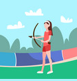 woman archer holding bow arrow female sport vector image vector image