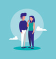 young couple with sky characters vector image vector image
