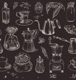 coffee seamless pattern vintage hand drawn vector image