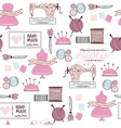 Sewing and needlework doodle seamless vector image