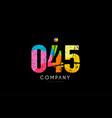 045 number grunge color rainbow numeral digit logo vector image vector image