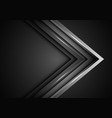 abstract grey metal arrow direction on dark blank vector image vector image