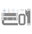 airport runway track and airplane types set vector image vector image