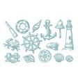 anchor wheel bollard hat compass rose shell vector image vector image