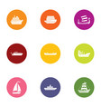 armadillo icons set flat style vector image vector image