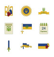 assembly flat icons ukraines independence day vector image vector image