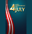 background happy independence day 4th july vector image