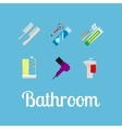 Bathroom items flat icon set vector image vector image