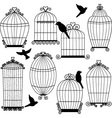 Birdcages and Birds Silhouette set vector image vector image