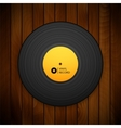Black vintage vinyl record isolated on red wood vector image vector image
