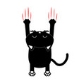 cartoon black cat back view red bloody claws vector image vector image