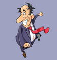 cartoon happy man in suit and tie fun runs vector image
