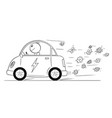 cartoon of happy man riding electric car flowers vector image vector image