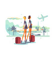 charming stewardess with suitcases vector image vector image