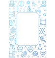 chemistry blue vertical outline frame with vector image vector image
