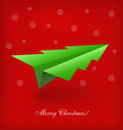 christmas tree origami airplane vector image vector image