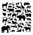 collection animal silhouette vector image vector image