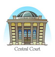 courthouse front or facade central court building vector image vector image