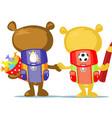 cute teddy bear cartoon go back to school vector image vector image