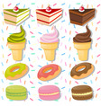 different types of desserts on colorful background