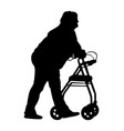 disabled woman using a walker silhouette vector image vector image