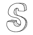 English alphabet - hand drawn letter S vector image vector image