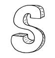 English alphabet - hand drawn letter S vector image