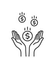 falling dollar coins with black contour hands vector image