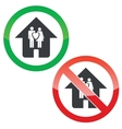 Family house permission signs set vector image vector image