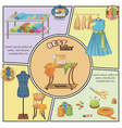 flat tailoring colorful composition vector image vector image