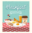 fried eggs with sliced bread and coffee plastic vector image vector image