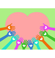 hands around heart vector image