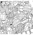 Happy birthday doodles background drawing by hand vector image vector image