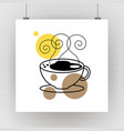 hot coffee mug drawing art vector image vector image