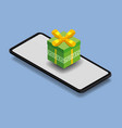 isometric smartphone with green gift box online vector image vector image