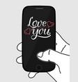 love you handwritten lettering on smartphone vector image