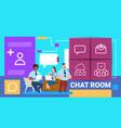 man woman laptop chat room online messenger vector image