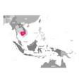 map of cambodia pink highlighted in vector image vector image