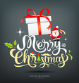 Merry Christmas greeting card lettering gift box vector image vector image