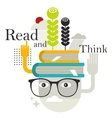 Old man with abstract books on his head vector image