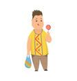 overweight boy cute chubby child cartoon vector image